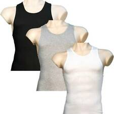 6 Mens A-Shirts 100% Cotton Undershirt Ribbed Muscle Tank Top Wife Beater Plain