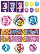 3rd Birthday AGE 3 - Large Range of CAKE CANDLES & Party BANNERS - Plastic/Foil
