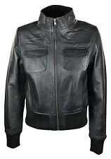 100% Ladies Real Leather Jacket Fitted Bomber Style Vintage Black