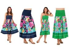 WOMENS 2 IN 1 STRAPLESS DRESS + STRETCH LONG MAXI SUMMER SKIRT LADIES SIZE 8 -16