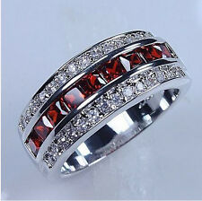 Size 8-12 Fashion Jewellery 10KT white gold filled Red Garnet Ring gift