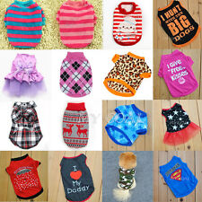 Puppy Pet Dog Cat Check Shirt fleece Clothes Coat Lapel Apparel Jumper Sweater