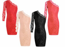 New Ladies Celebrity One Shoulder Lace Midi Bodycon Mini Dress 6-12