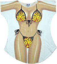 Flames Bikini Cover up T-shirt Lady's Fun Wear