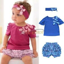 3PCS Baby Girls Short Headband+Top+Pants Set Outfit Clothes SZ 6-24 Months Cute