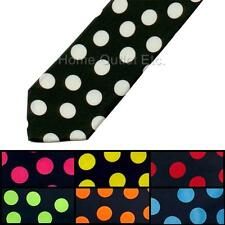 "3"" Polka Dot Neck Tie 2-Tone Big Large Circle Pattern Print Casual Novelty Black"