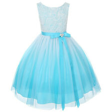 Flower Girls Stunning Ombre Rosette Bodice Girl Dress Pageant Wedding Bride Aqua