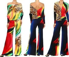 ANIMAL PRINT MULTI WAY REVERSIBLE PLUNGING CONVERTIBLE OFF SHOULDER JUMPSUIT