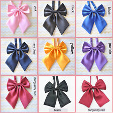 High Quality Women  Neck Tie  Girl Sailor School Pre-tied Satin Thin Bowtie Bow