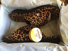 NEW Women's Orthaheel Orthotic Relax Spa Slippers - Leopard Tan Size 8 10