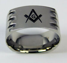 Masonic Ring Stainless Steel Men's Grooved Band Mason Freemason