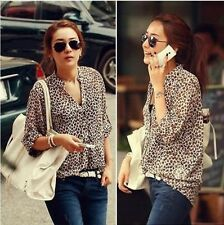 Women's Fashion Sexy Leopard Tin Chiffon Long Sleeve Shirt Top Blouse Hot