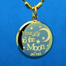I LOVE YOU TO THE MOON AND BACK ROUND GOLD PENDANT - FREE ENGRAVING ON BACK