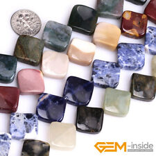 """Natural Assorted Stone 15mm Square Twist Beads For Jewelry Making Strand 15"""" YB"""