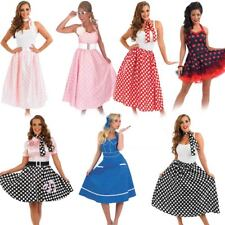 50s Fancy Dress - Ladies 1950s Costume Womens Rock N Roll Polka Dot Outfits