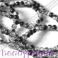 150 Round Glass Crackle Beads Sparkling Black and Clear 8 mm 6059 30% off