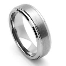 Men's & Womens TUNGSTEN Carbide Grooved Brushed and Polished WEDDING RING 7MM