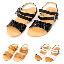 Womens Strappy Sandals Flat Shoe Slide Ankle Strap Basic Open Toe Slingback Size