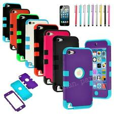 For iPod Touch 5th Gen -HARD & SOFT RUBBER ARMOR CASE HYBRID COVER SHELL SKINS