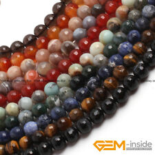 """Natural Assorted Stone Faceted Round Beads For Jewelry Making 15"""" 6mm 8mm 10mm"""