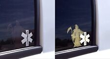 BLACK REFLECTIVE    Grim Reaper EMS Star of Life Decal Fire Rescue Stickers