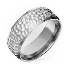Mens Titanium Ring Comfort fit  9mm Wide Hammered Engagement Band Free Sizing