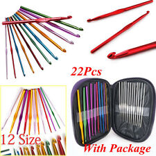 Aluminum Plastic Handle Crochet Hook Knitting Needle Set Weave Yarn 6/12/22pcs
