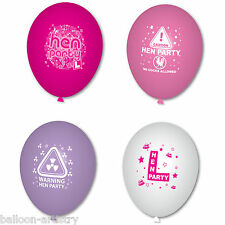 Caution Hen Party Night Warning White Pink Lilac Printed Latex Balloons Listing