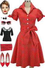 50s Style RED POLKA DOT Tie Sleeve Full Skirt Rockabilly PINUP Dress with SASH