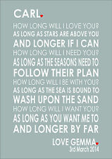 Song Lyrics First Dance Anniversary Wedding Engagement Personalised Art Word 1st