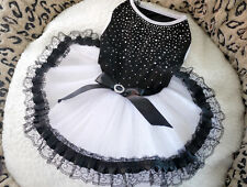 New Black White Lace Princess Party Dress FOR Small Pet Dog Clothe 4 SIZES