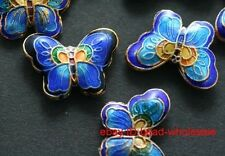 7pcs Blue Cloisonne Butterfly Spacer Beads New 22mm