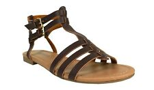 Shelby! Soda Women's Open Toe Strappy Gladiator Flat Sandal in Brown Leatherette