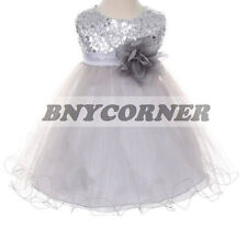 Baby Flower Girls Dress Sequin Glitter Beaded Satin Party Pageant Wedding Formal