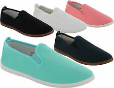 LADIES TWEET FLAT CANVAS PLIMSOLLS SLIP ON PUMPS GIRLS TRAINERS SHOES UK SIZES
