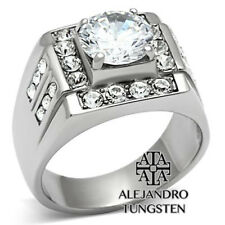 Men's Ring 4.7 Ct Clear Round Cut Cz Stainless Steel Silver Ring Size 8 to 11
