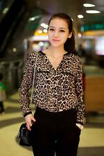 New Korean Version Of The Exquisite Female Long-Sleeved Chiffon Blouse Leopard A