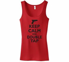 Keep Calm and Double Tap Funny Ladies Tank Top Gun Rights Shirt Hunting Shooting