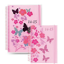 Letts Academic Mid Year Week to View Pink Butterfly Student Wiro Diary 2014-15