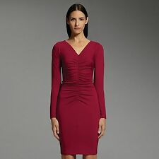NARCISO RODRIGUEZ for DESIGNATION Womens Ruched Sheath DRESS Burgundy Red L/S