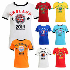 Ladies Womens World Cup 2014 Print Various Country Football Soccer Top T-Shirt
