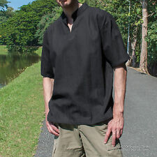 Mens Kurta Style Shirts - V Neck Short Sleeve- Grandad Collar Shirts 100% Cotton