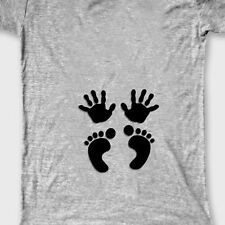 Baby HANDS FEET Imprint Funny T-shirt Maternity Pregnancy Humor Tee Shirt