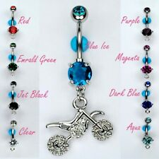 Motocross Dirt Bike Dangle Navel Belly Ring Bar Double Gem Piercing CHOOSE COLOR