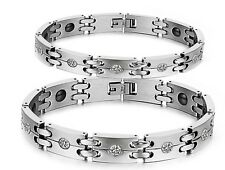 Couple healthy magnetic bracelet stainless steel bangle hematite jewelry 3339