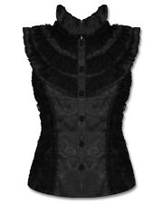 Jawbreaker Black Gothic Top Steampunk Brocade Shirt Blouse VTG Victorian Damask