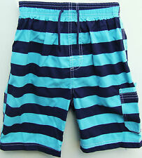BOYS CHAINSTORE BLUE STRIPED BOARD SWIMMING SHORTS - 12-18 MTHS to 12 YEARS -NEW