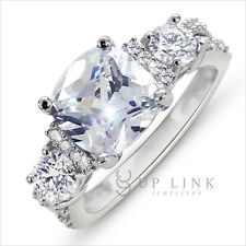 White Sapphire Topaz Wedding Engagement 925 Sterling Silver Ring Size 5 6 7 8 9