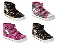 GIRLS OFFICIAL HELLO KITTY ANIMAL PRINT SHOES HI TOP TRAINERS KIDS UK SIZE 8-2