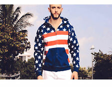 American Flag USA Hooded Plain  Sweatshirt Men Women Full Zipper Hoodie